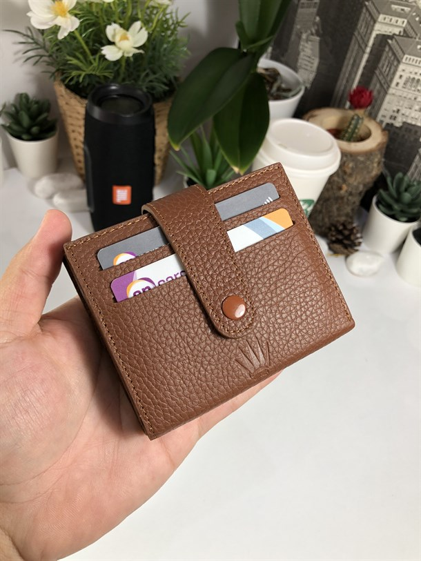 DUBLE BRAD BROWN GENUINE LEATHER CARD HOLDER