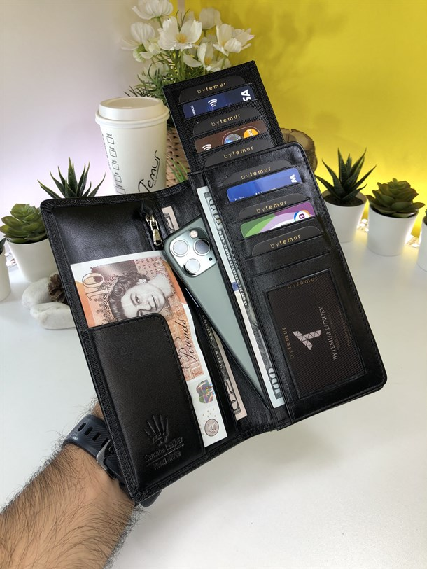 LUCCA PREMIUM BLACK GENUINE LEATHER PHONE WALLET + CARD HOLDER