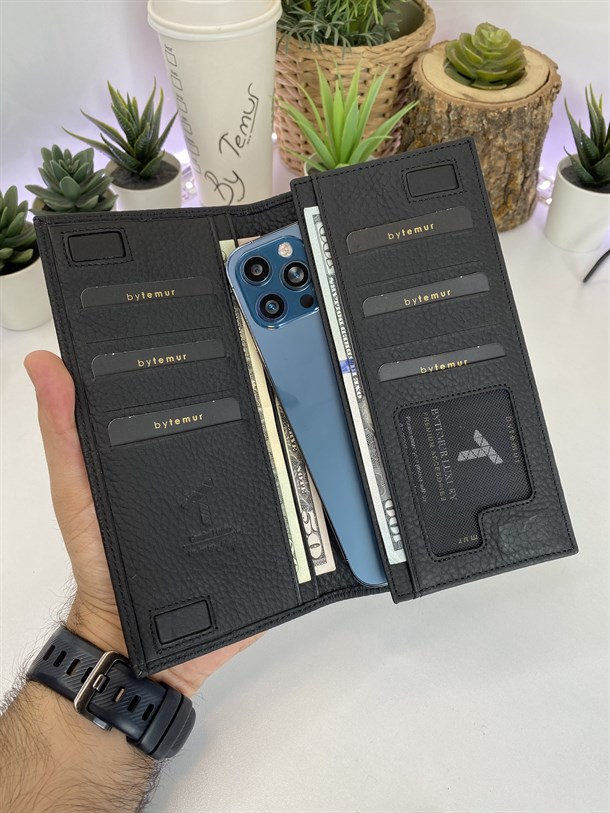 RICCARDO BLACK  GENUINE LEATHER  PHONE WALLET