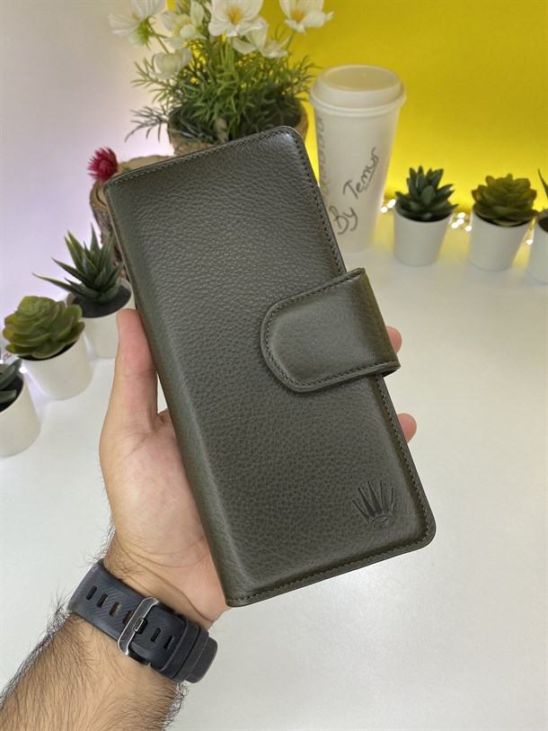 SERGIO GREEN GENUINE LEATHER  PHONE WALLET