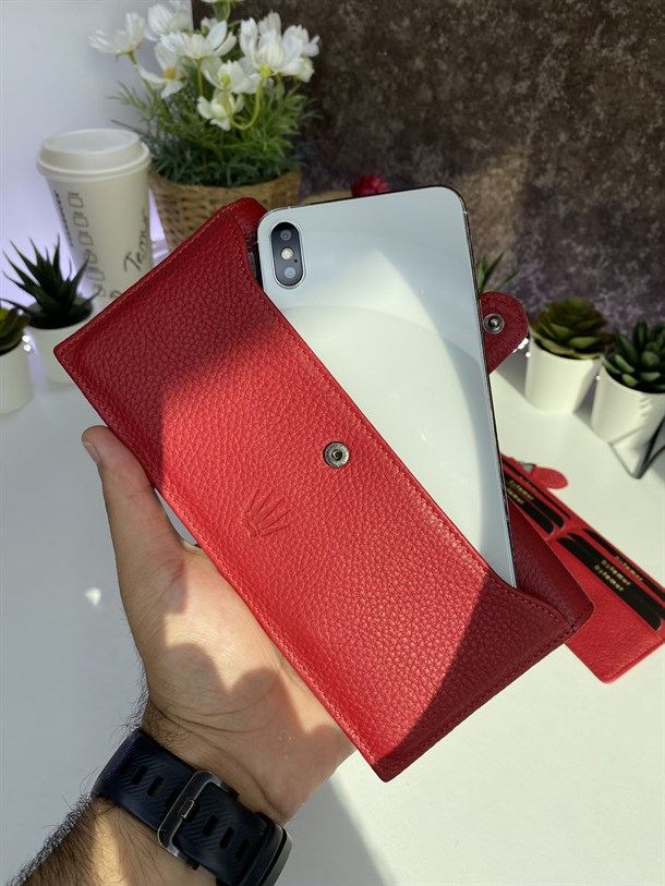 SWEYN RED GENUINE LEATHER PHONE WALLET