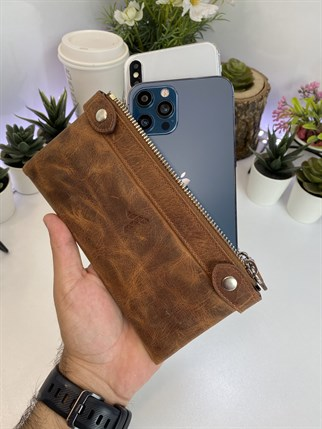 ANTHONY CRAZY BROWN GENUINE LEATHER  DUBLE PHONE WALLET