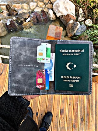 BUSİNESS PASSPORT WALLET GREY