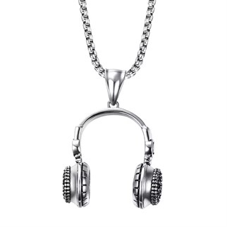 HEADPHONE SİLVER TİTANİUM KOLYE