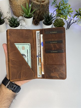 JEFF CRAZY BROWN GENUINE LEATHER PHONE WALLET