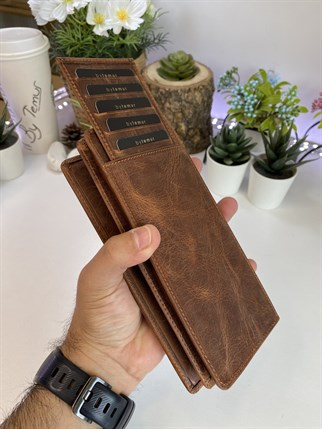 LUCCA CRAZY BROWN GENUINE LEATHER PHONE WALLET + CARD HOLDER