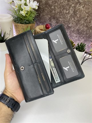 MARGAUX CRAZY BLACK GENUINE LEATHER PHONE WALLET