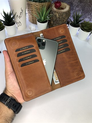 MICHAEL BROWN MAGNETIC GENUINE LEATHER PHONE WALLET