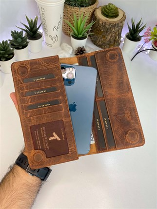 OCEAN  CRAZY BROWN MAGNET  GENUINE LEATHER PHONE WALLET