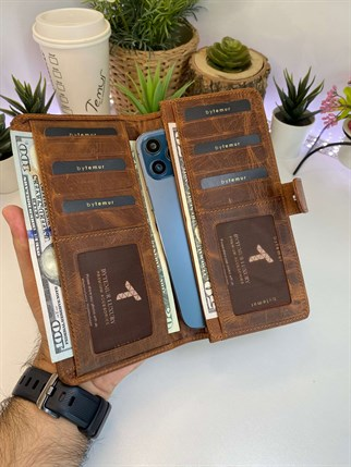PAUL CRAZY BROWN GENUINE LEATHER PHONE WALLET