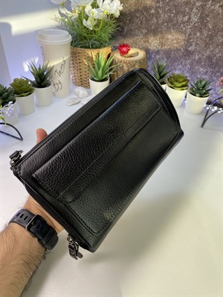 ROLLO BLACK GENUINE LEATHER PHONE AND HANDBAG WALLET