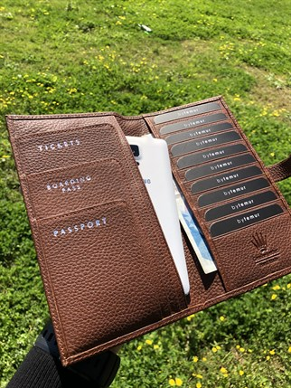 TRAVEL BROWN PASSPORT WALLET