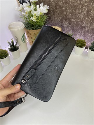 VARUS BLACK GENUINE LEATHER PHONE WALLET AND HANDBAG